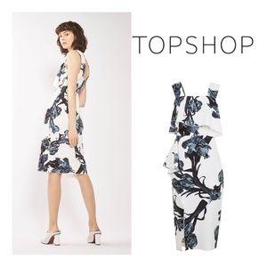 New Topshop Frill Midi Pencil Dress